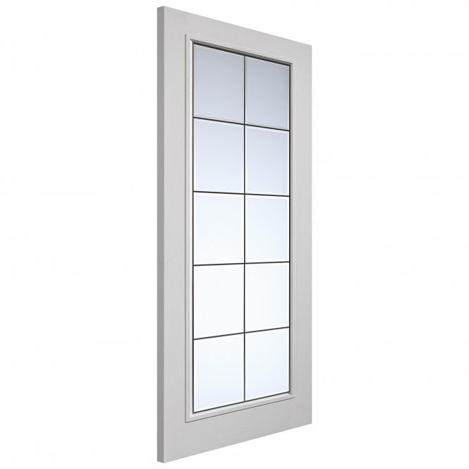 Internal White Moulded Smooth Decima Door With Clear Glass