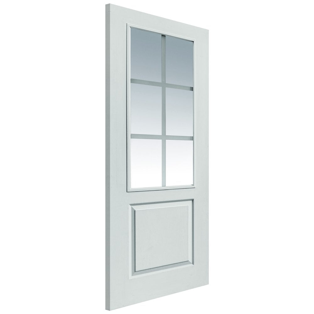 Jb kind faro white moulded clear decorative glass fd30 internal fire internal white primed classic faro 6l solid fd30 fire door with pyrodur etched clear glass planetlyrics Gallery