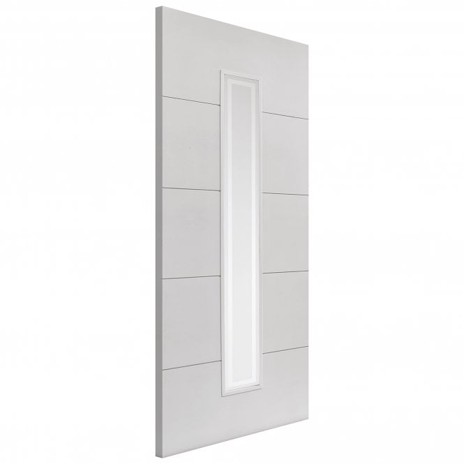 Internal White Primed Limelight Dominion FD30 Fire Door With Etched Glass