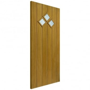 JB Kind External Un-Finished Oak Therm-L Bordeaux Door With Clear Glass