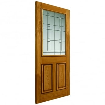 JB Kind External Un-Finished Oak Therm-L Burgundy Door With Feature Glass