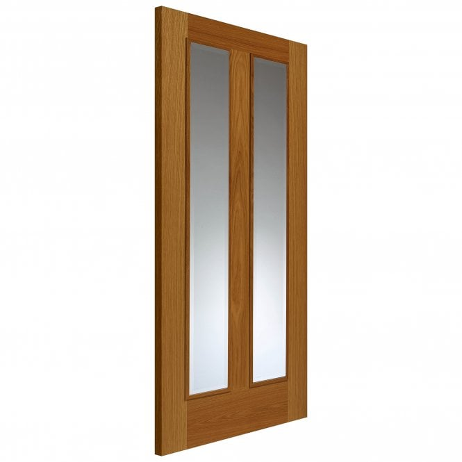 JB Kind Internal Oak Fully Finished Classic Royale R-11-2V 2L Solid Door with Clear Glass and Raised Mouldings