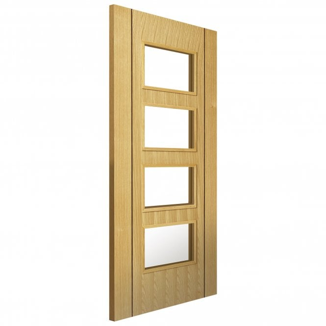 JB Kind Internal Oak Fully Finished Contemporary Blenheim 4L Door with Clear Glass