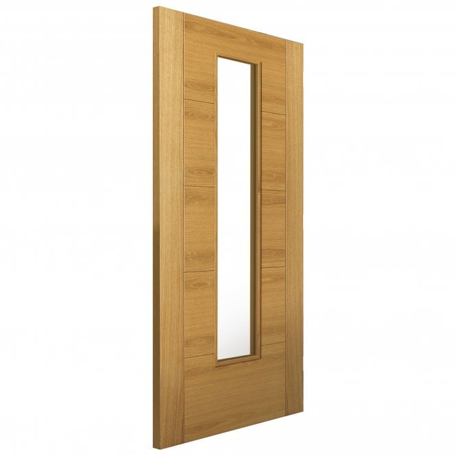 JB Kind Internal Oak Fully Finished Contemporary Emral 1L Solid FD30 Fire Door with Clear Glass