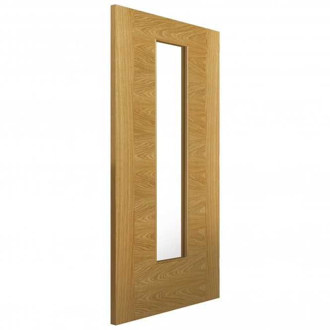 JB Kind Internal Oak Fully Finished Contemporary Ostria 1L Door with Clear Glass