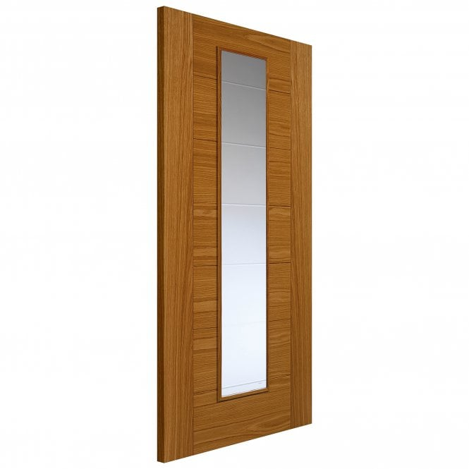JB Kind Internal Oak Fully Finished Contemporary Royale VP7 1VCB 1L Solid Door with Clear Glass