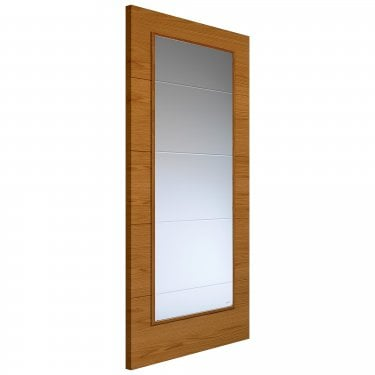 Internal Oak Fully Finished Contemporary Royale VT5 1VB 1L Solid Door with Clear Glass
