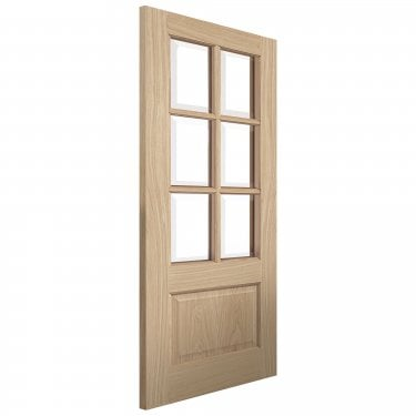 Internal Oak Unfinished Classic Dove 6L Solid Door with Clear Glass