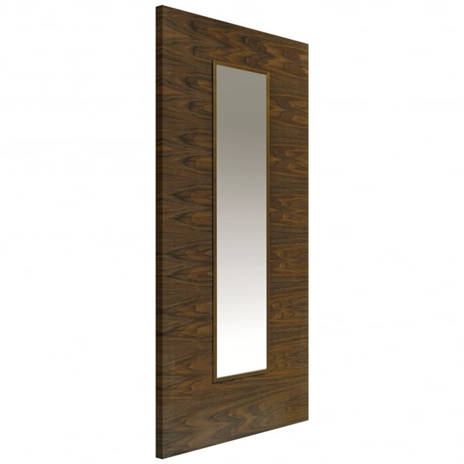 JB Kind Internal Pre-Finished Flush Walnut Franquette Door With Clear Glass
