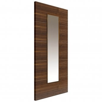 JB Kind Internal Pre-Finished Flush Walnut Parisienne Door With Clear Glass