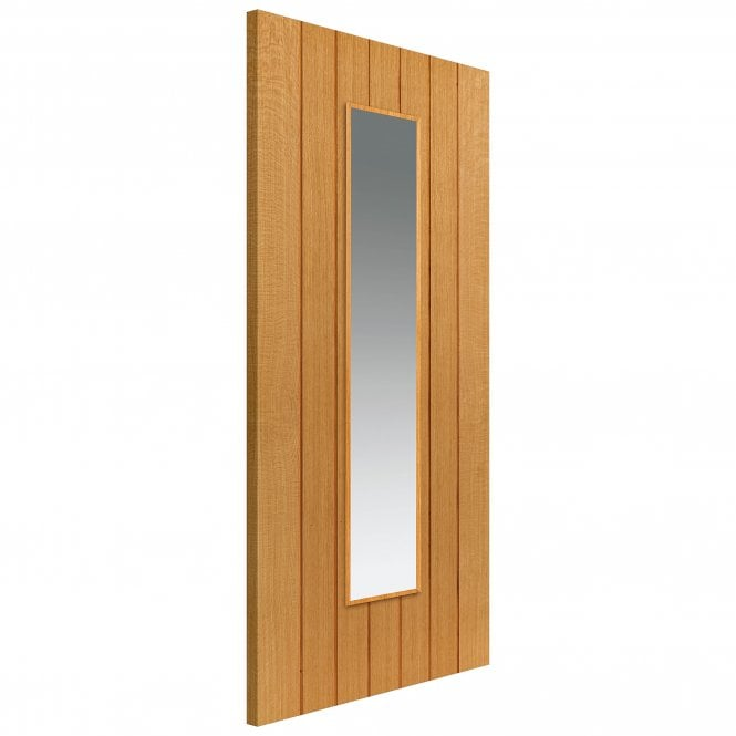 JB Kind Internal Pre-Finished River Cottage Oak Cherwell Door With Clear Glass