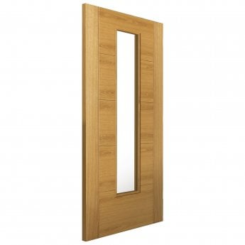 JB Kind Internal Pre-Finished River Modern Oak Emral FD30 Fire Door With Clear Glass