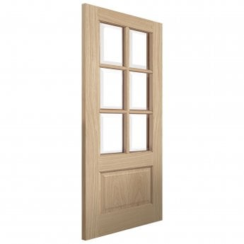 JB Kind Internal Un-Finished River Traditional Oak Dove Door With Clear Glass