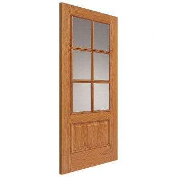 JB Kind Internal Un-Finished Royale Traditional Oak 12-6Vmn FD30 Fire Door With Clear Glass