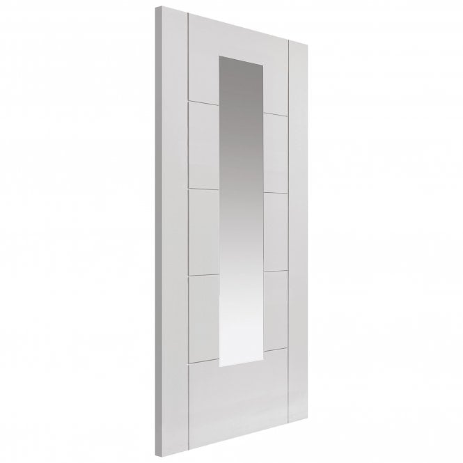 JB Kind Internal White Fully Finished Contemporary Emral 1L Door with a Pine Frame and Clear Glass