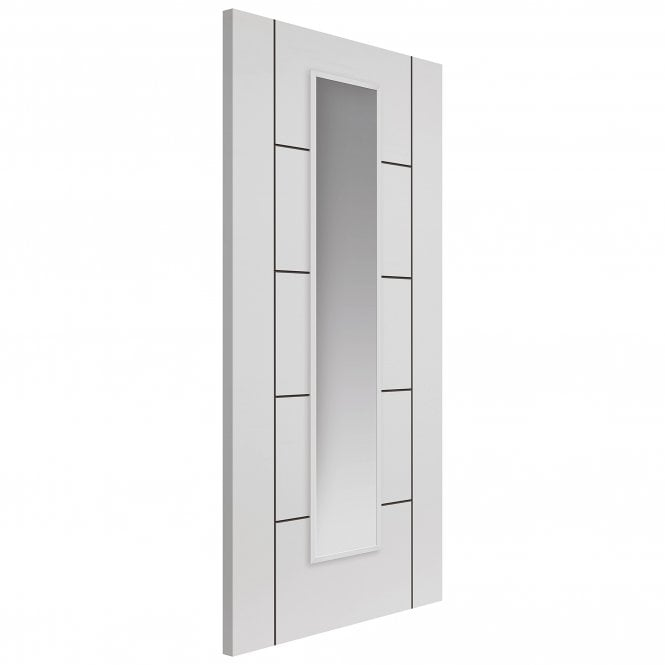 JB Kind Internal White Fully Finished Contemporary Linea 1L Door with Clear Glass