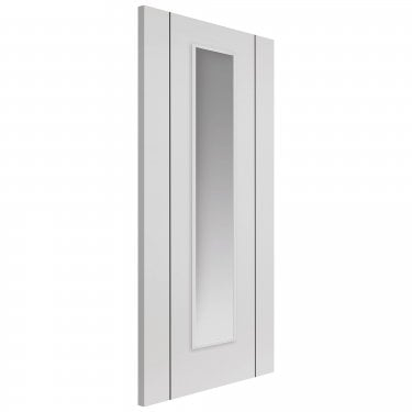 Internal White Fully Finished Contemporary Parelo 1L Door with Clear Glass