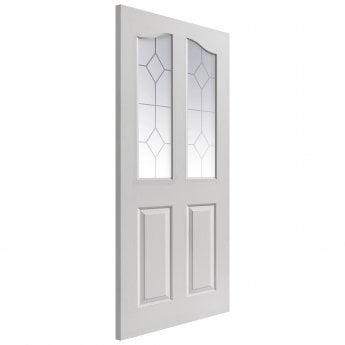 JB Kind Internal White Moulded Edwardian Door With Etched Glass