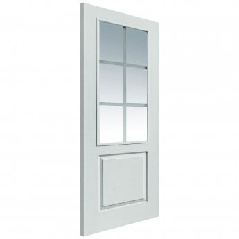 JB Kind Internal White Moulded Faro FD30 Fire Door With Pyrodur Clear Etched Glass