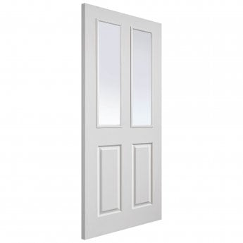 JB Kind Internal White Moulded Grained Canterbury FD30 Fire Door With Pyran Clear Glass