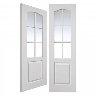 Internal White Primed Classic Classique 12L Pair Door with Clear Glass