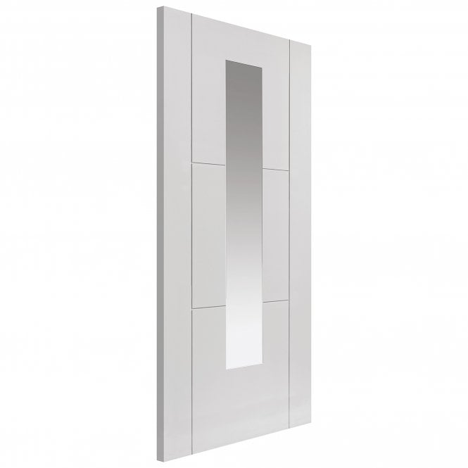 JB Kind Internal White Primed Contemporary Mistral 1L Door with Clear Glass