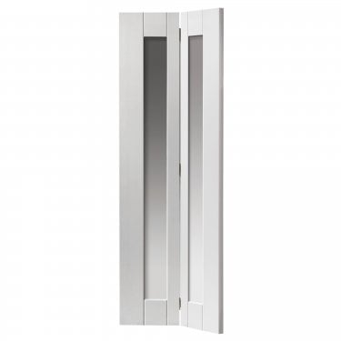 Internal White Primed Shaker Axis 2L Bi-Fold Solid Door with Clear Glass