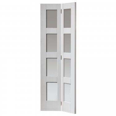 Internal White Primed Shaker Caymen 8L Bi-Fold Solid Door with Clear Glass