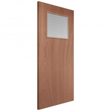 External Softwood Unfinished Paint Grade GG01 1L Solid FD30 Fire Door with Double Glazed Georgian Wired Glass