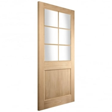 External White Oak Unfinished Knightsbridge Radcliffe 6L Door with Double Glazed Clear Glass