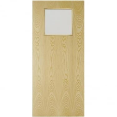 Internal Ash Fully Finished Crown Cut GC01 1L Flush FD30 Fire Door with Clear Glass