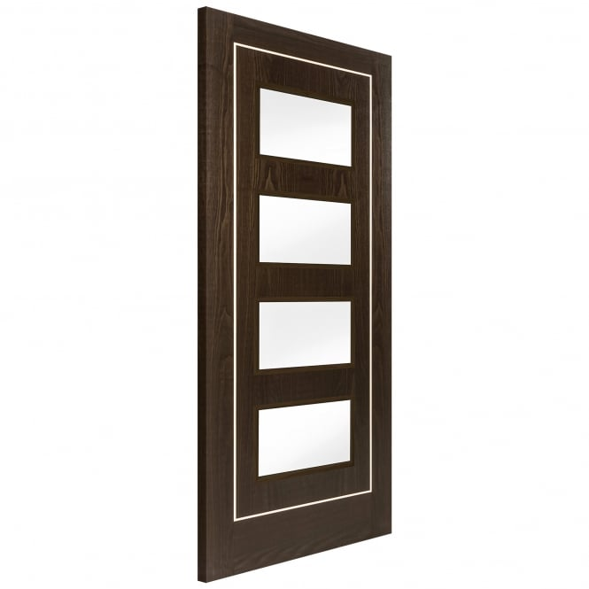Jeld-Wen Internal Brown Ash Inlay 4 Light Clear Glass Door