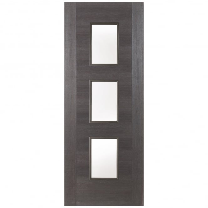Jeld-Wen Internal Grey Fusion Panel 3 Light Clear Glass Door
