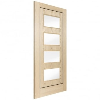 Jeld-Wen Internal Silver Ash Inlay 4 Light Clear Glass Door