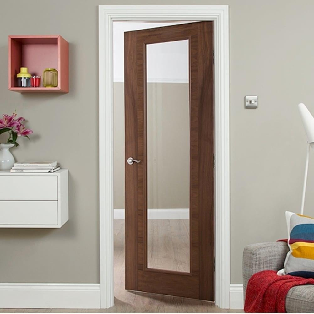 interior clear glass door. Wonderful Interior Internal Walnut Fully Finished Fusion 1L Flush Heavyweight Door With Clear  Glass And Interior O