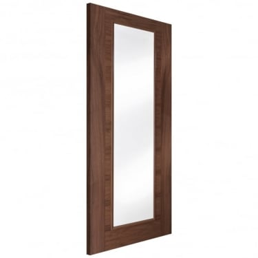 Internal Walnut Fully Finished Fusion 1L Flush Heavyweight Door with Clear Glass
