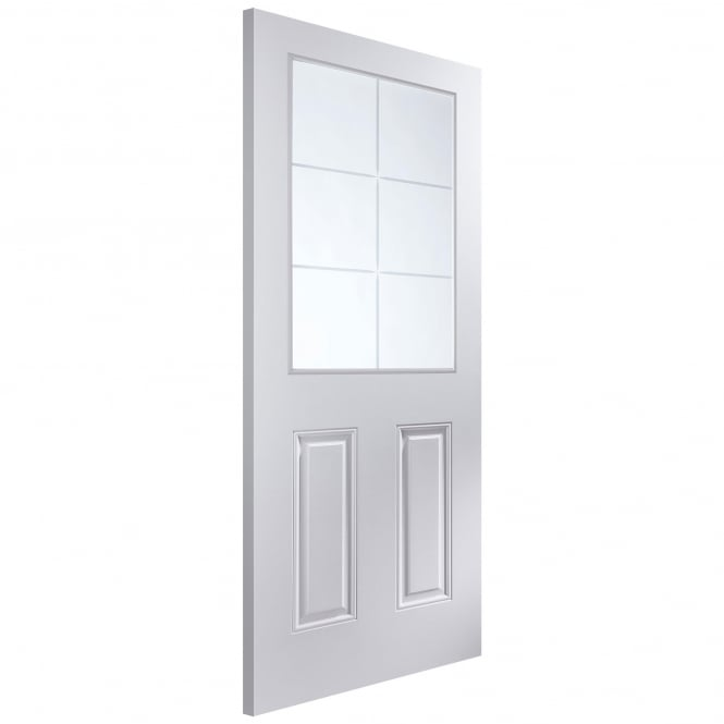 Jeld-Wen Internal White Moulded Arlington 6 Light Etch Glass Door