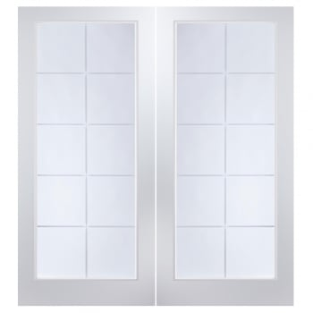 Jeld-Wen Internal White Moulded Atherton 10 Light Etch Clear Pair Door