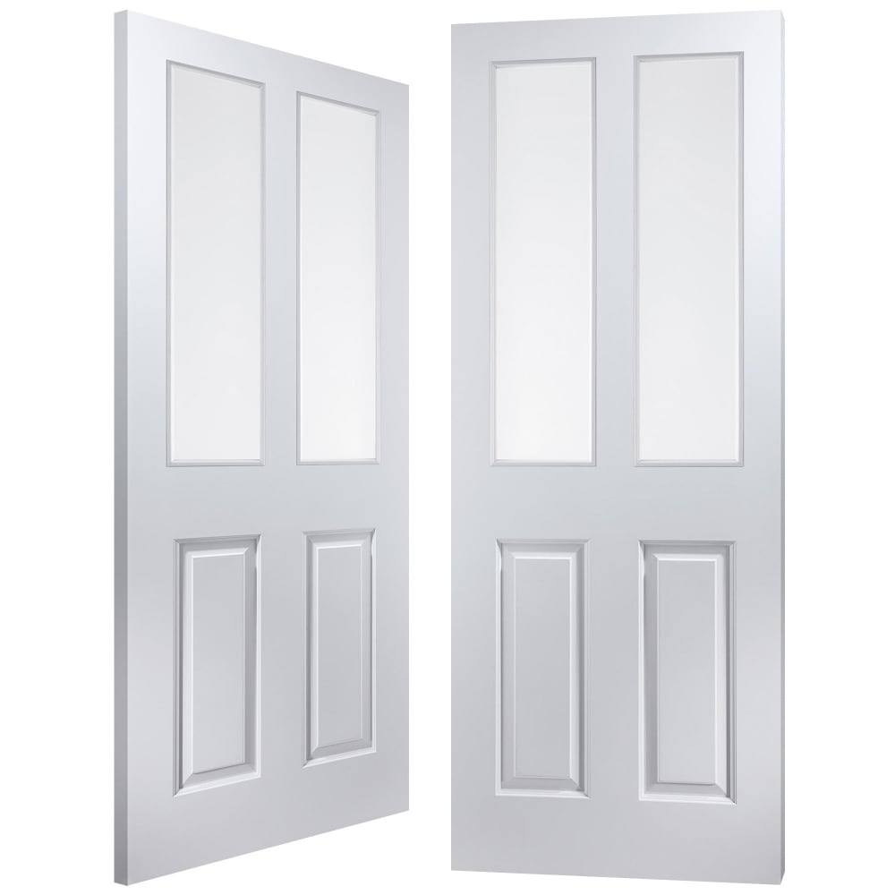 Internal White Moulded Atherton 2 Light Clear Pair Door