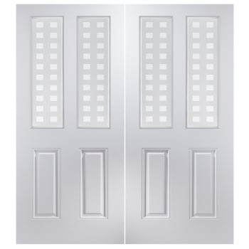 Jeld-Wen Internal White Moulded Atherton 2 Light Geometric Pair Door