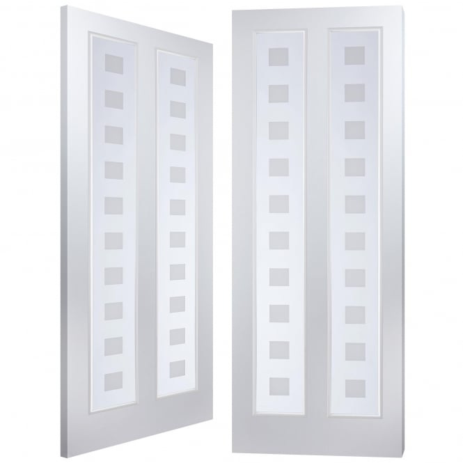 Internal White Moulded Atherton 2 Light Vertical Geometric Pair Door