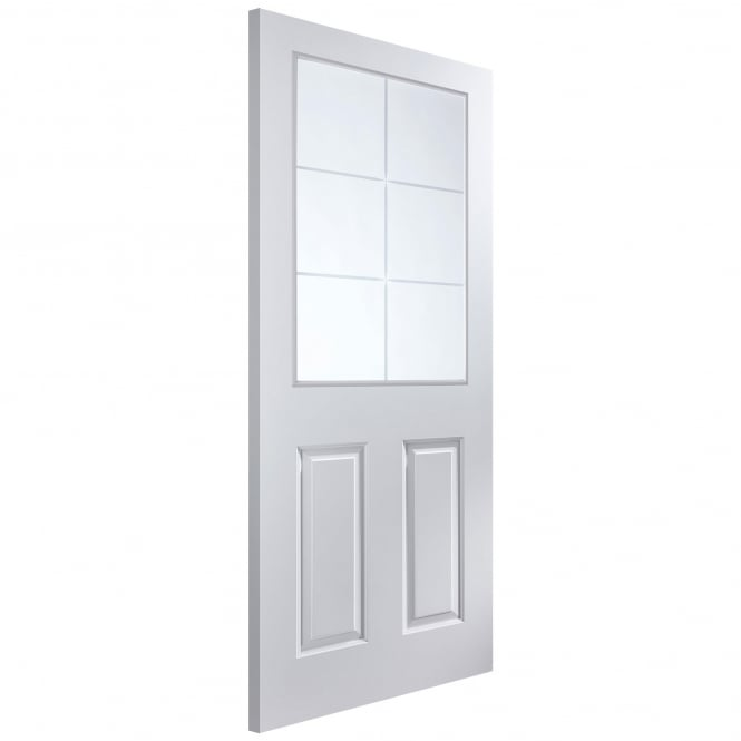 Jeld-Wen Internal White Moulded Atherton 6 Light Etch Glass Door