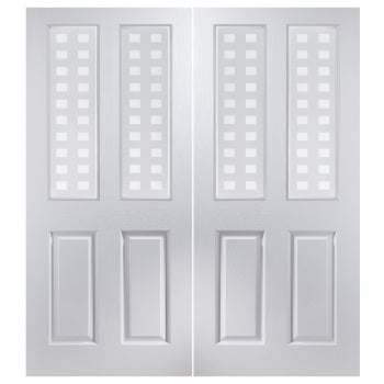 Jeld-Wen Internal White Moulded Bostonian/Oakfield 2 Light Geometric Pair Door