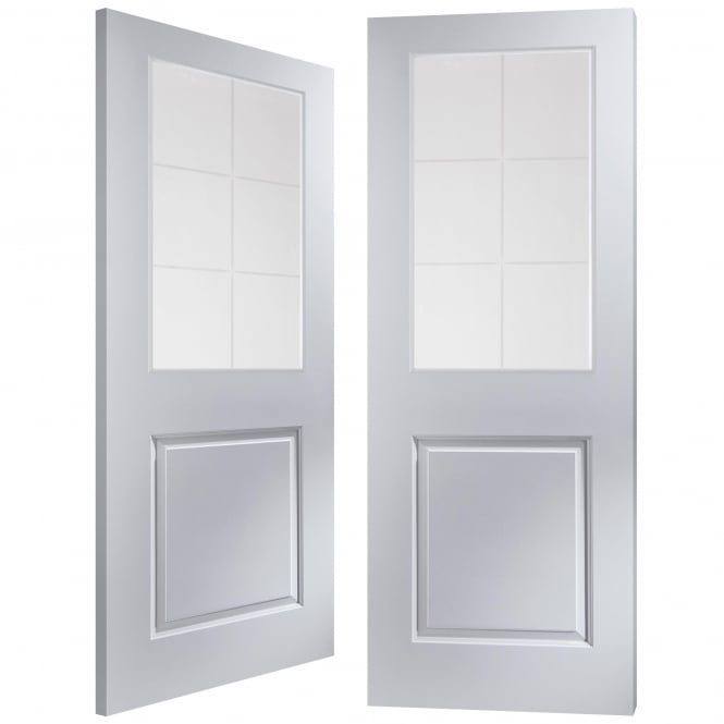 Internal White Moulded Cambridge 6 Light Etch Clear Pair Door