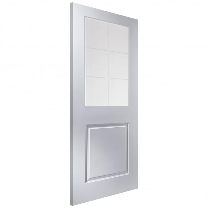 Internal White Moulded Cambridge 6 Light Etch Glass Door