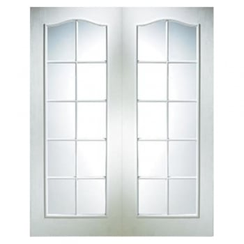 Jeld-Wen Internal White Moulded Camden 10 Light Etch Clear Pair Door