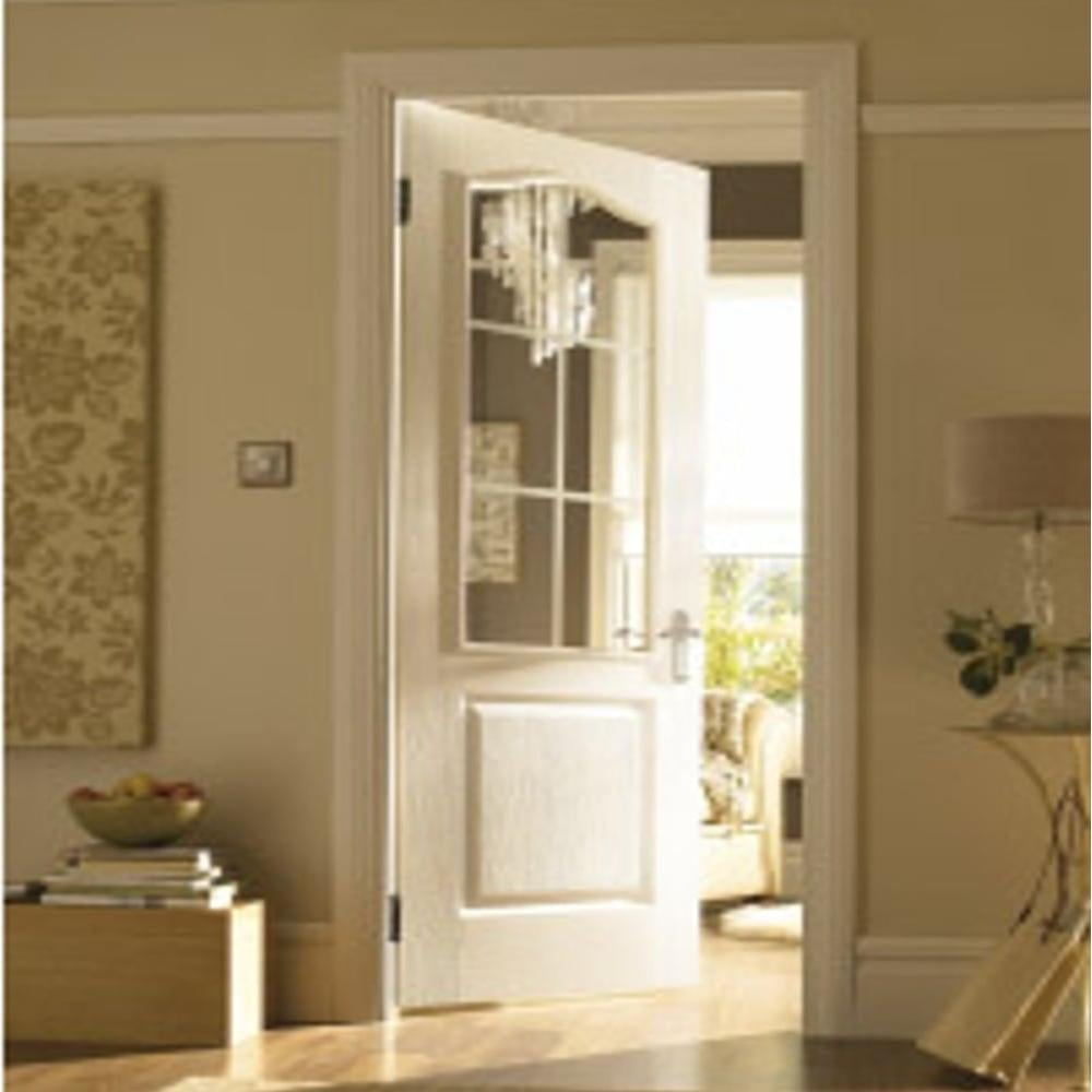 Clear glass interior doors - Internal White Moulded Camden 6 Light Simulated Etch Clear Glass Door