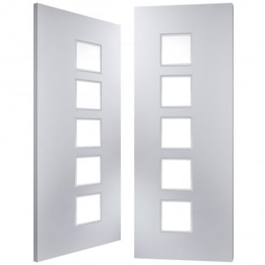 Internal White Moulded Cube 5 Light Clear Pair Door
