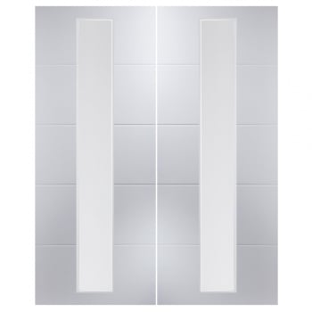 Jeld-Wen Internal White Moulded Linea 1 Light Etch Clear Pair Door