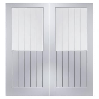 Jeld-Wen Internal White Moulded Newark Vertical Etch Clear Pair Door